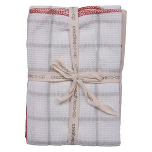 S/3 Red Woven Cotton Tea Towels