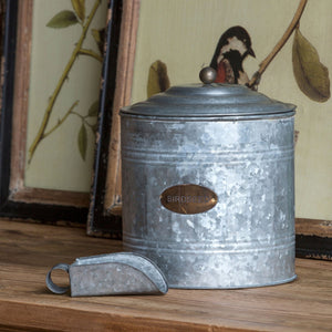 Galvanized Metal Birdseed Canister with Scoop