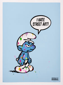 """I Hate Street Art""  Hand embellished Print Blue"