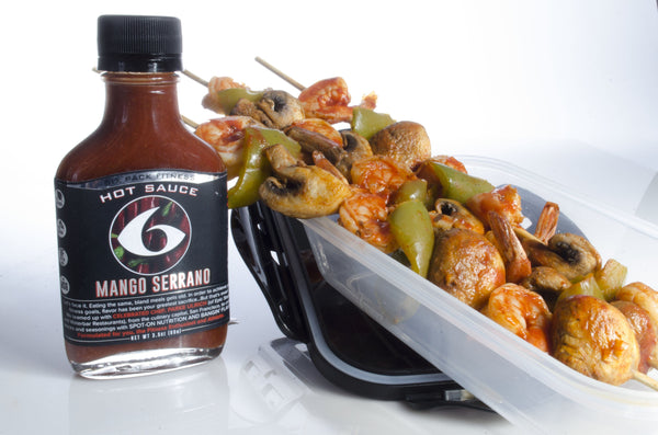 6 Pack Exclusive Recipe: Mango Serrano Shrimp Kabobs
