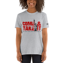 Load image into Gallery viewer, 2nd Amendment T-Shirt | Come & Take It Gun Control Shirt with Lady Liberty | Red On Light Colors