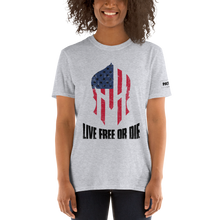 Load image into Gallery viewer, American Flag Spartan Helmet T-Shirt | Live Free Or Die | Light Colors