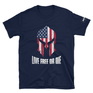 American Flag Spartan Helmet T-Shirt | Live Free Or Die | Dark Colors