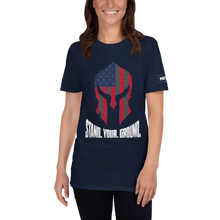 Load image into Gallery viewer, American Flag Spartan Helmet T-Shirt | Stand. Your. Ground. | Dark Colors