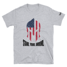 Load image into Gallery viewer, American Flag Spartan Helmet T-Shirt | Stand. Your. Ground. | Light Colors