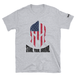 American Flag Spartan Helmet T-Shirt | Stand. Your. Ground. | Light Colors