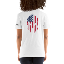 Load image into Gallery viewer, American Flag Spartan Helmet T-Shirt | Backside Print | Light Colors
