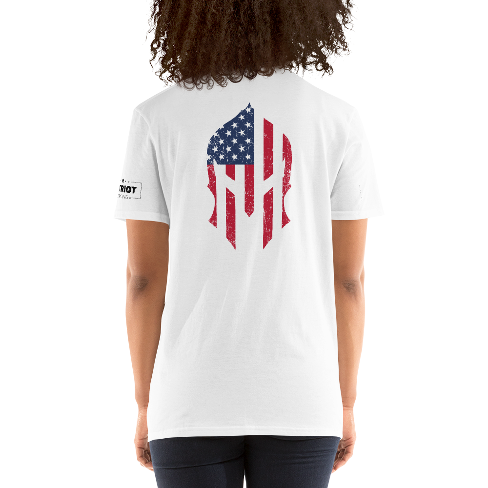 American Flag Spartan Helmet T-Shirt | Backside Print | Light Colors
