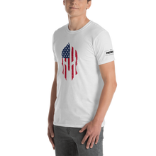Load image into Gallery viewer, American Flag Spartan Helmet T-Shirt | Stand Alone Helmet | Light Colors