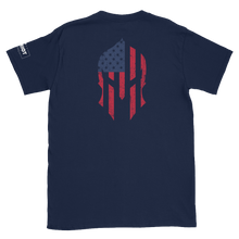 Load image into Gallery viewer, American Flag Spartan Helmet T-Shirt | Backside Print | Dark Colors