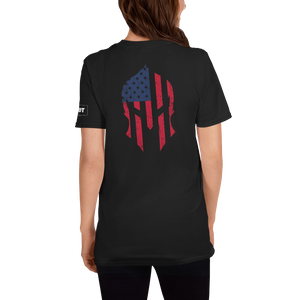 American Flag Spartan Helmet T-Shirt | Backside Print | Dark Colors