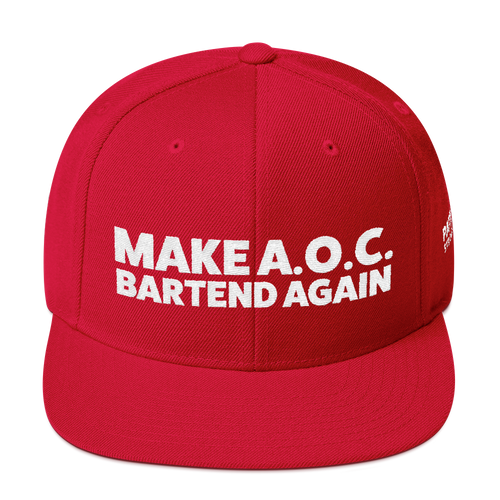 Make A.O.C. Bartend Again | White Embroidered Red Hat