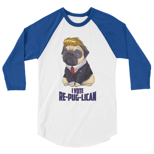 Trump Pug Raglan Jersey T-Shirt | I Vote Re-Pug-Lican | Various Colors