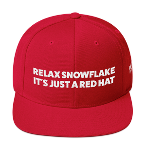 Relax Snowflake It's Just a Red Hat | White Embroidered Red Hat