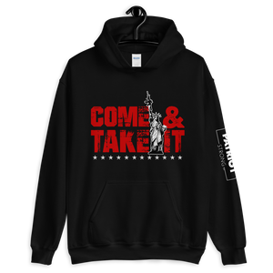 Lady Liberty AR-15 Hooded Sweatshirt | Come & Take It Hoodie | Red on Dark Colors