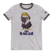 Load image into Gallery viewer, Trump Pug Ringer T-Shirt | I Vote Re-Pug-Lican | Various Colors