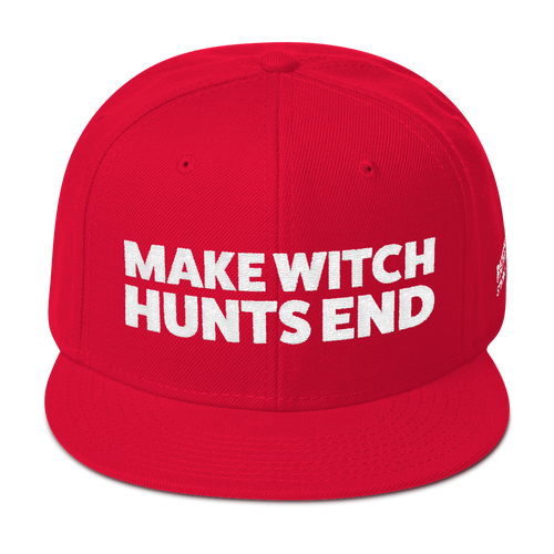 Make Witch Hunts End | White Embroidered Hat In Red Or Green