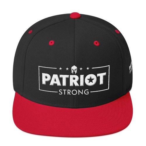 Patriot Strong 3D Puff Embroidered Black & Red Premium Hat | White Embroidery