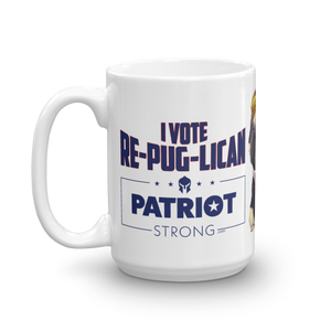 Trump Pug Republican Mug | I Vote Repuglican Coffee Mug #2 | Light Color