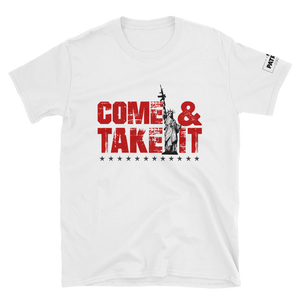2nd Amendment T-Shirt | Come & Take It Gun Control Shirt with Lady Liberty | Red On Light Colors