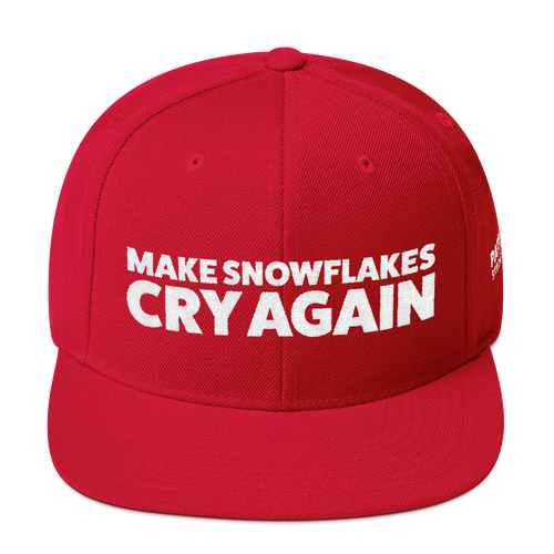 Make Snowflakes Cry Again | White Embroidered Hat In Red