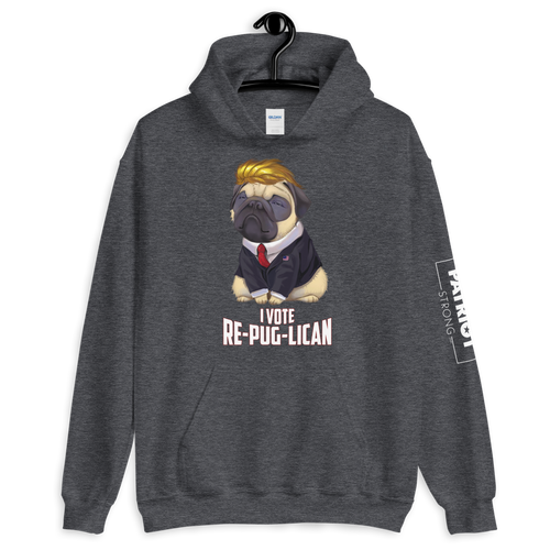I Vote Re-Pug-Lican Hooded Sweatshirt | Various Dark Colors