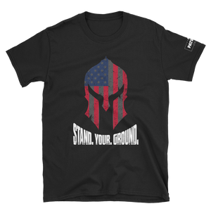 American Flag Spartan Helmet T-Shirt | Stand. Your. Ground. | Dark Colors