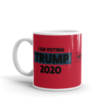 Load image into Gallery viewer, Vote Trump 2020 Mug | I Am Voting Trump 2020 Coffee Mug | Black On Red