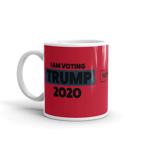 Vote Trump 2020 Mug | I Am Voting Trump 2020 Coffee Mug | Black On Red