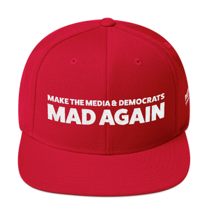 Make The Media & Democrats Mad Again | White Embroidered Hat In Red