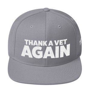 Thank A Vet Again Hat | White Embroidery On Various Colors