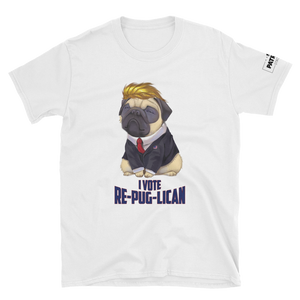 Trump Pug T-Shirt | I Vote Re-Pug-Lican | Light Colors