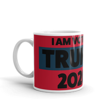 Load image into Gallery viewer, Voting Trump 2020 Mug | I Am Voting Trump 2020 Coffee Mug | Black On Red