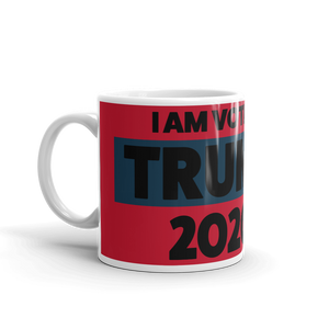 Voting Trump 2020 Mug | I Am Voting Trump 2020 Coffee Mug | Black On Red