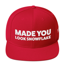 Load image into Gallery viewer, Made You Look Snowflake | White Embroidered Hat In Red