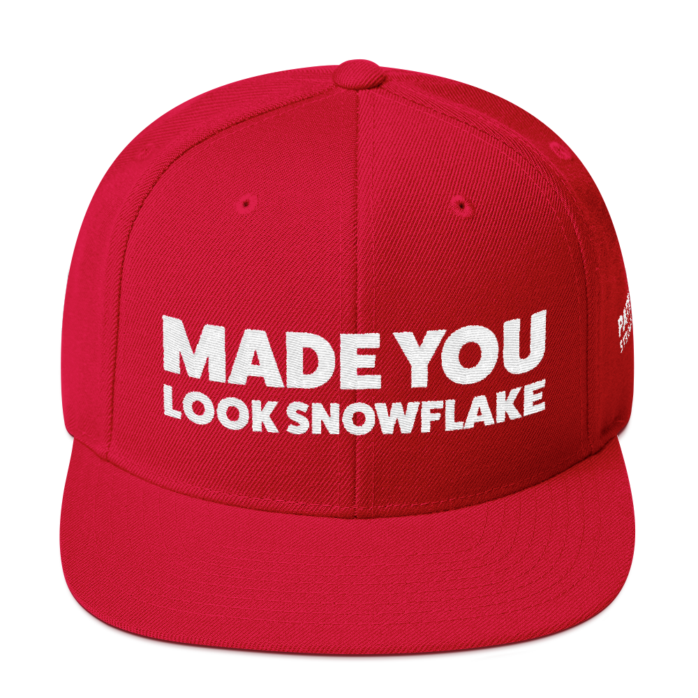 Made You Look Snowflake | White Embroidered Hat In Red