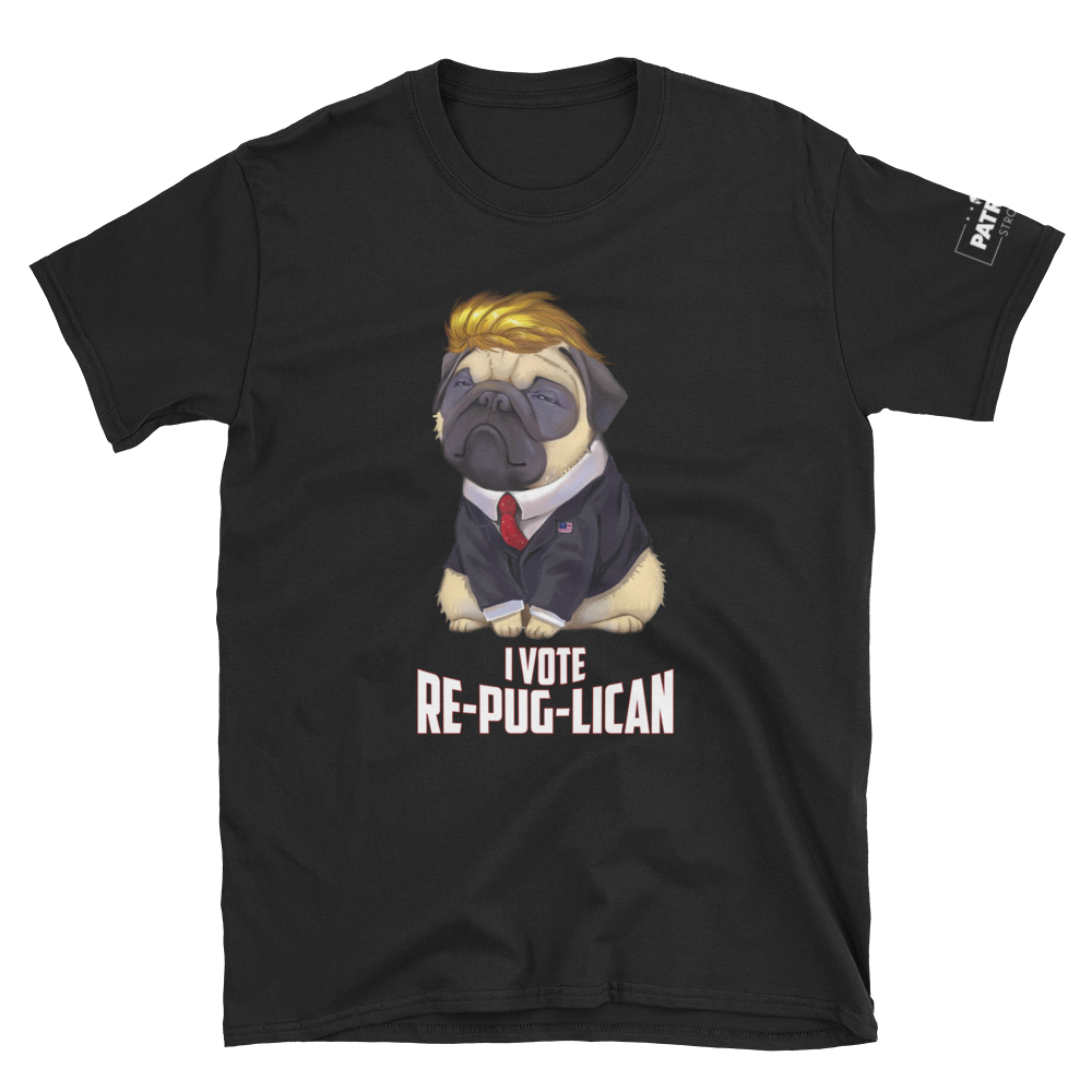 Trump Pug T-Shirt | I Vote Re-Pug-Lican | Dark Colors