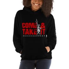 Load image into Gallery viewer, Lady Liberty AR-15 Hooded Sweatshirt | Come & Take It Hoodie | Red on Dark Colors