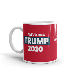 Vote Trump 2020 Mug | I Am Voting Trump 2020 Coffee Mug | White On Red