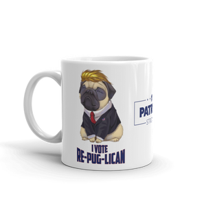 Trump Pug Republican Mug | I Vote Repuglican Coffee Mug #1 | Light Color