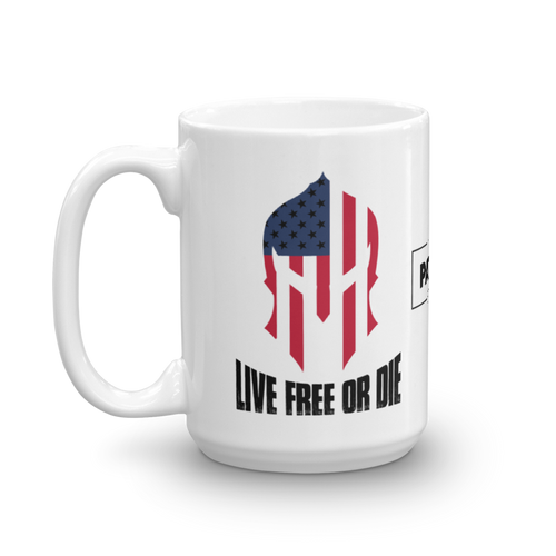 Live Free or Die American Spartan Flag Coffee Mug | Light Color