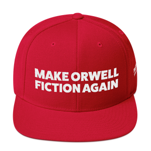 Make Orwell Fiction Again | White Embroidered Red Hat
