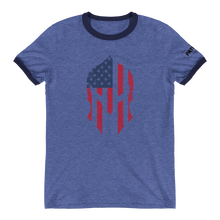 Load image into Gallery viewer, American Flag Spartan Helmet Ringer T-Shirt | Stand Alone Helmet | Various Colors
