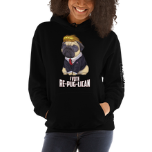 Load image into Gallery viewer, I Vote Re-Pug-Lican Hooded Sweatshirt | Various Dark Colors