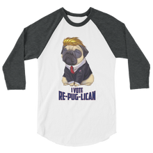 Load image into Gallery viewer, Trump Pug Raglan Jersey T-Shirt | I Vote Re-Pug-Lican | Various Colors