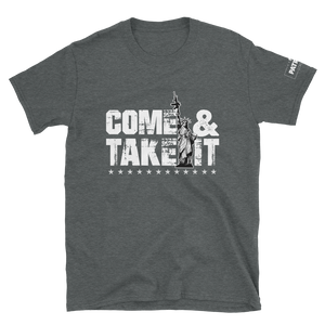 Come & Take It Lady Liberty AR-15 T-Shirt | Pro 2nd Amendment Tee | Gun Control Dark Colors