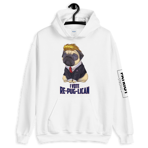 I Vote Re-Pug-Lican Hooded Sweatshirt | Various Light Colors
