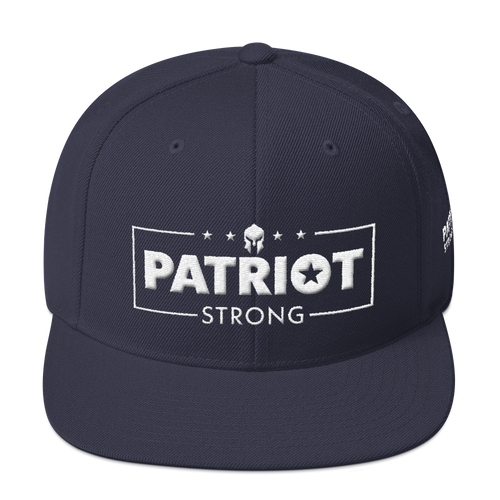 Patriot Strong 3D Puff Embroidered Navy Color Premium Hat | White Embroidery