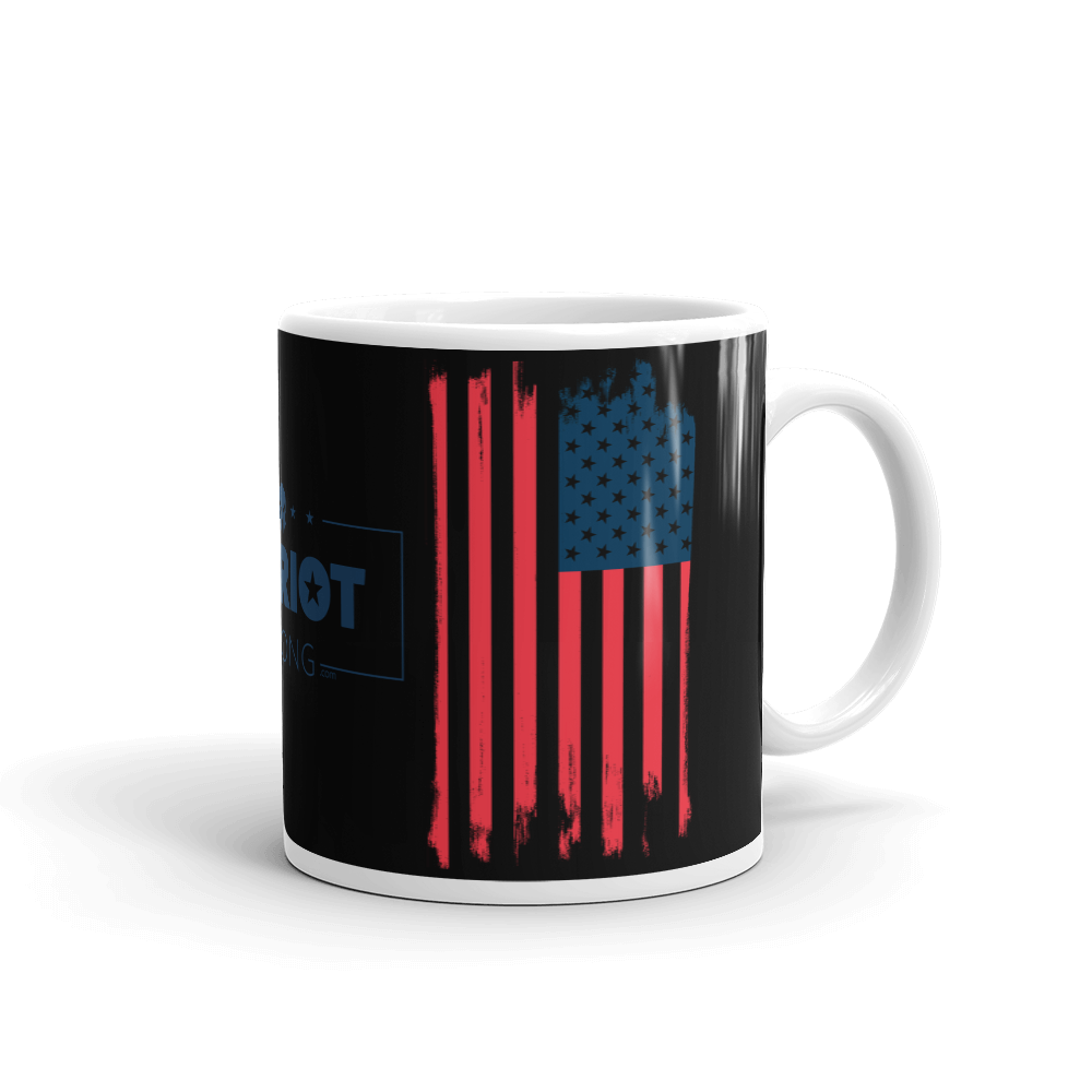 American Flag Mug | Distressed USA Flag Coffee Mug | Dual Image On Black
