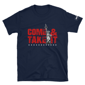 2nd Amendment T-Shirt | Come & Take It Gun Control Shirt with Lady Liberty | Red On Dark Colors